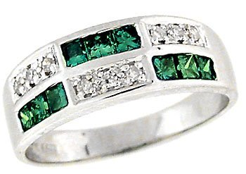 4025: 14k wg .75ct GREEN DIAMOND channel Ring Band