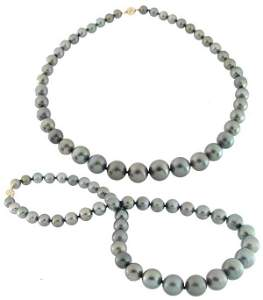 4050: 8.88 to14mm Tahitian BLACK PEARL 18 inch Necklace