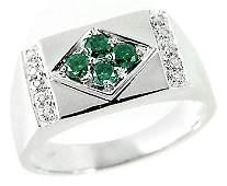 4070: WG .39cttw blue diamond rectangle mans ring
