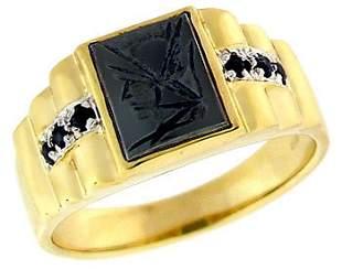 10YG Hematite trojan carved head saph mans ring