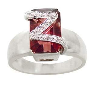 WG 3.5c pink tourmaline t-cut dia pavé Z ring