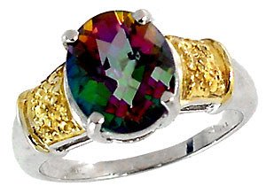 5004: WG 3.75ct mystic topaz checkerboard 2tone ring