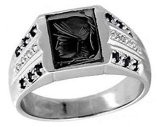 10WG Hematite trojan head saph mans ring
