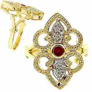 Ruby diamond filligree ring