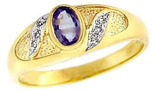 14YG .45ct Alexanderite .03ct diamond ring