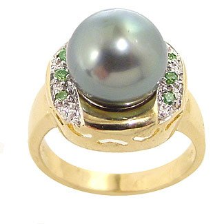 5017: 10mm Tahitian pearl .10green dia round ring