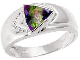 WG 1.50ct mystic topaz trillion .05dia ring