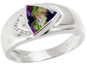 5018: WG 1.50ct mystic topaz trillion .05dia ring