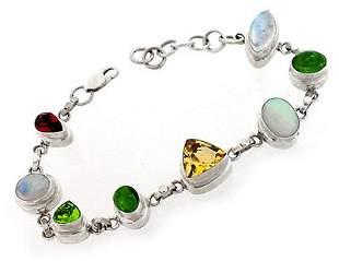 Sterling Silver Multi Gem 8 stone bracelet