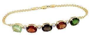 14KY 9ct MixTourmaline 5 oval dia bracelet 7.5