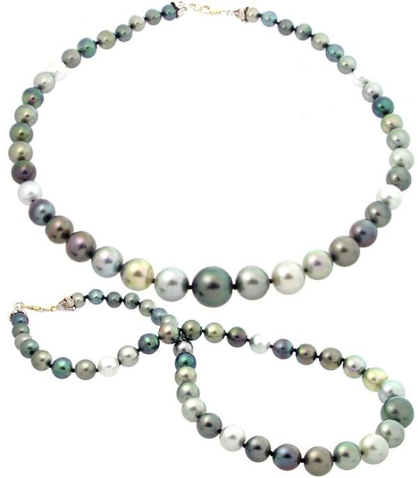 5050: 14YG 8/13.7mm Rainbow 43Tahitian Pearl necklace