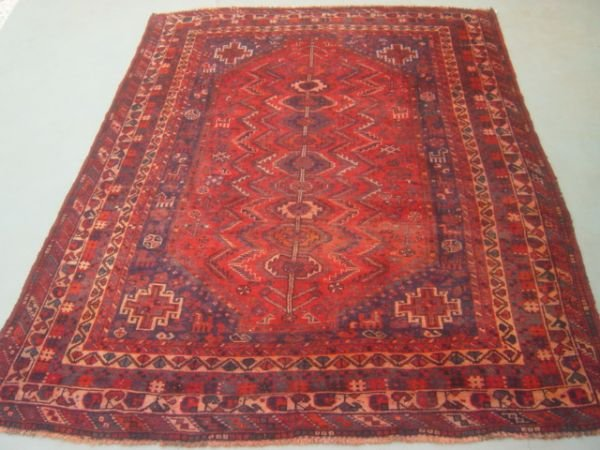 5064:   Semi Antique Rugs Persian Qashqai Carpet 10x7