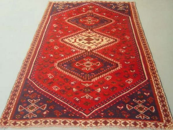 5013: Semi Antique Rugs Persian Qashqai Carpet 8x5