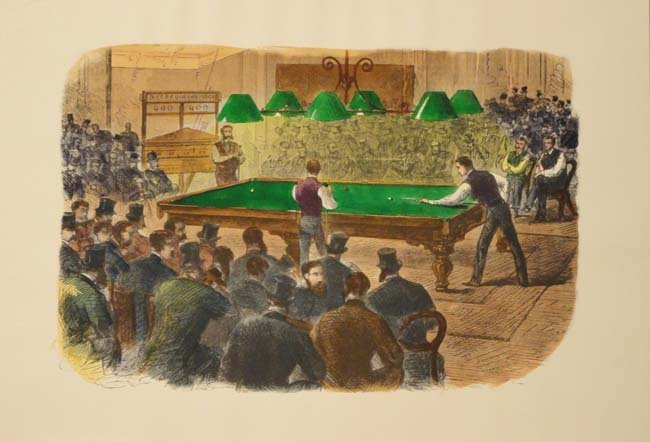 Billiards, hand colored etching