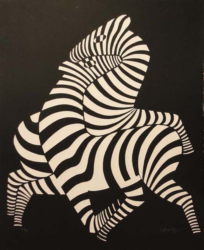 White zebras on black cast paper by Victor Vasarely