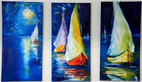 Sail Boats Triptych (3 peices) by Elizabeth Kawala