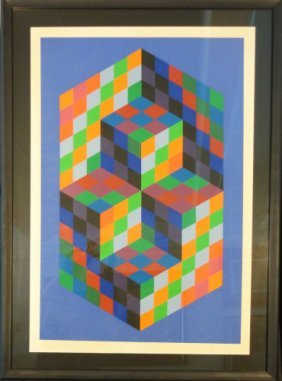 Untitled, Rubik's Cube like image by Victor Vasarely
