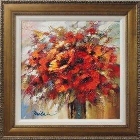 Red Vase of Flowers by Michael Milkin