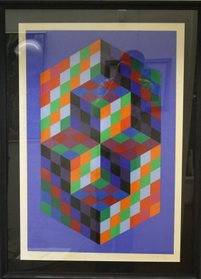 Untitled, Rubik Cube like image by Victor Vasarely