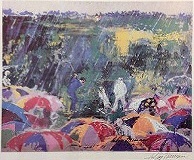 Arnie in the Rain by Leroy Neiman