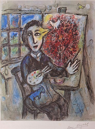 Artist with Palette & Easel by Marc Chagall