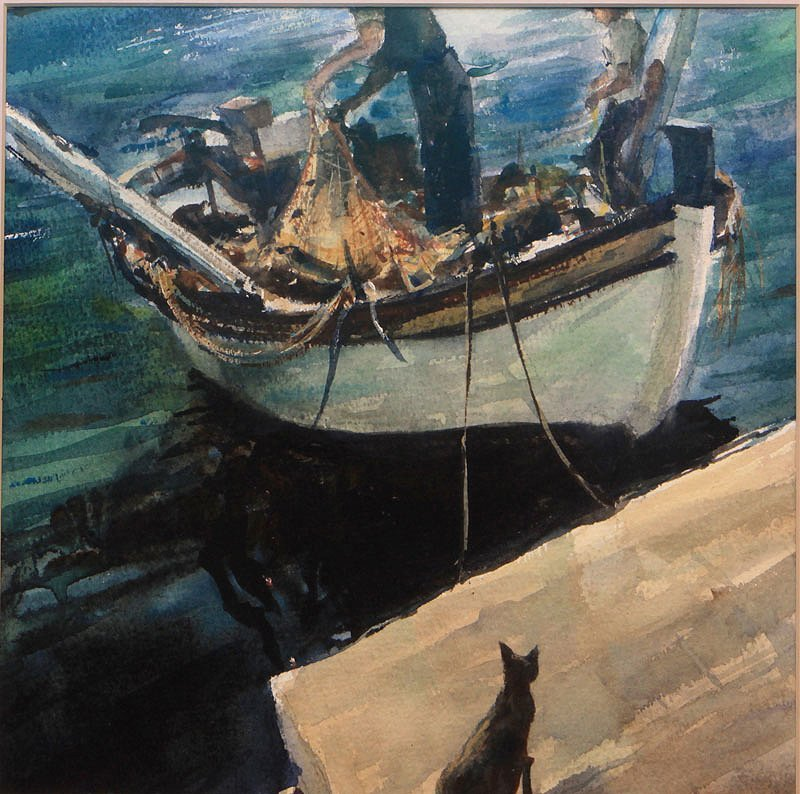 Cat Watching a Fisherman by Unknown