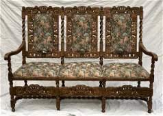 Carved Oak Barley Twist Sette Sofa Bench Jacobean