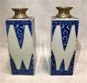 PAIR OF SILVER MOUNTED CHINESE PORCELAIN VASES 18TH C