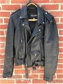 Wilson Black Leather Motorcycle Riding Jacket Size L