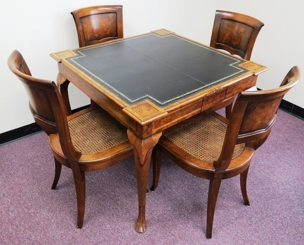 Burton Ching Game Table And 4 William Switzer Chairs