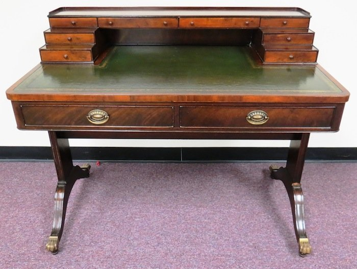 Antique Edwardian Style Desk with Green Inlay