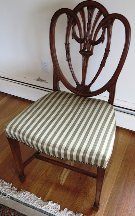 Vintage Striped Accent Chair with Shield Back