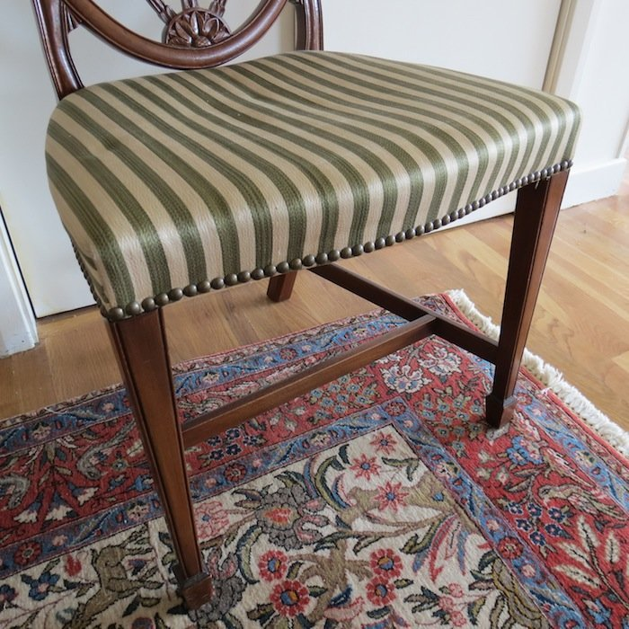 Vintage Striped Accent Chair with Shield Back - 3