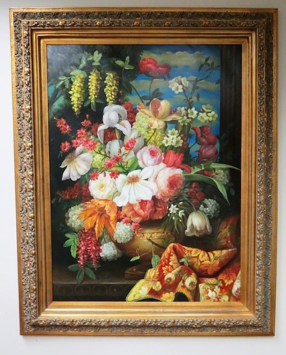 Floral Still Life Oil Painting by L. Frank