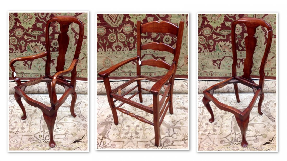 Set of 3 Unupholstered Cherry Queen Anne Dining Chairs