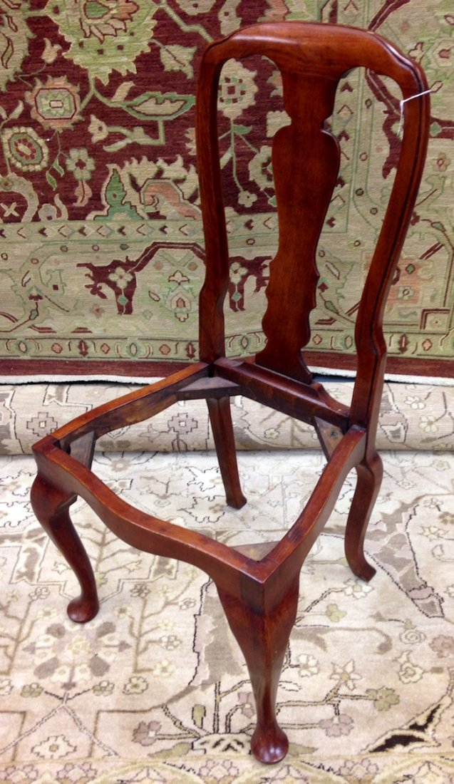 Set of 3 Unupholstered Cherry Queen Anne Dining Chairs - 2