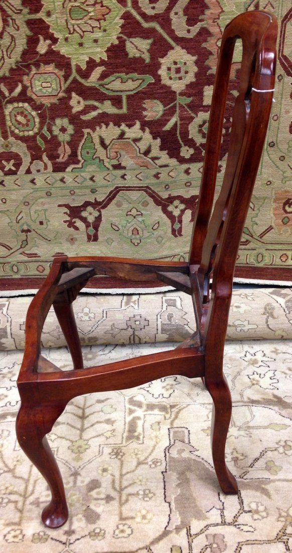 Set of 3 Unupholstered Cherry Queen Anne Dining Chairs - 4