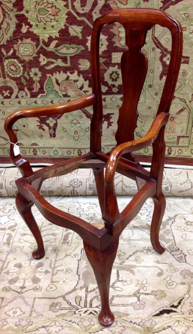 Set of 3 Unupholstered Cherry Queen Anne Dining Chairs - 8