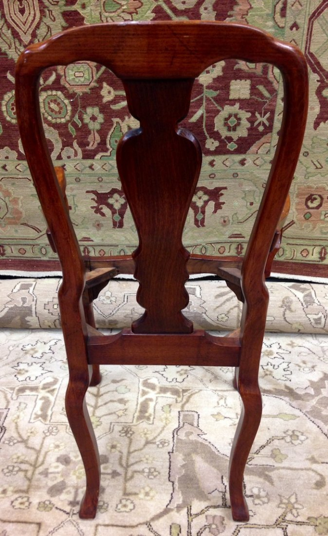 Set of 3 Unupholstered Cherry Queen Anne Dining Chairs - 9