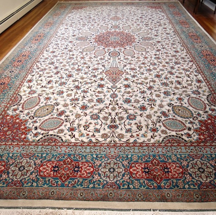 """Persian White and Blue Oriental Rug 235""""  W 139"""""""