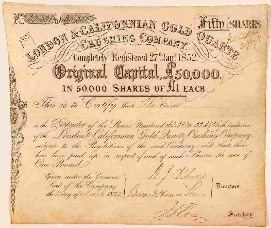 London & Californian Gold Quartz Crushing Co. Stock