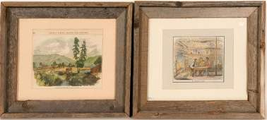 """Early Lithographs / """" A California Cabin & Sutter's"""