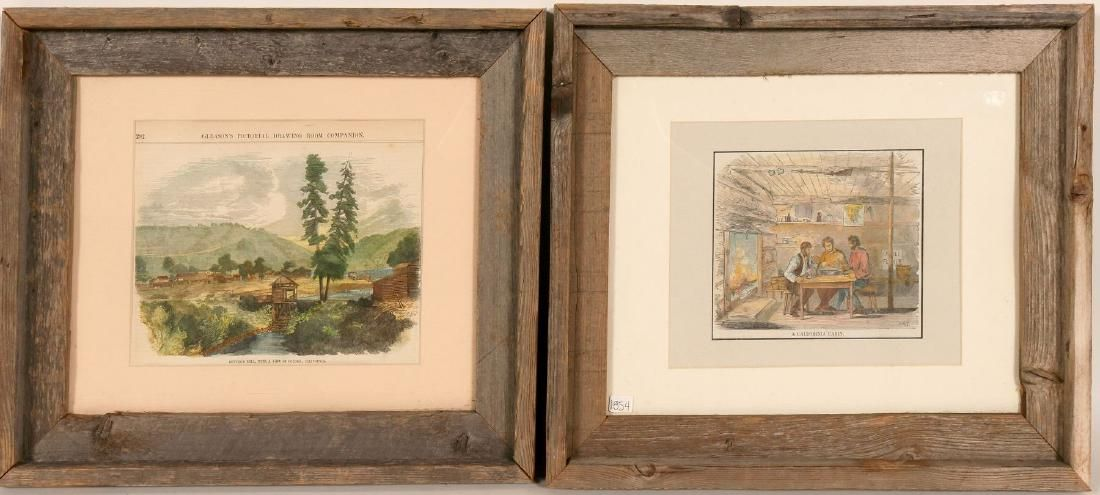"Early Lithographs / "" A California Cabin & Sutter's"