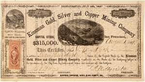 Kinsman Gold Silver  Copper Mining Co Stock