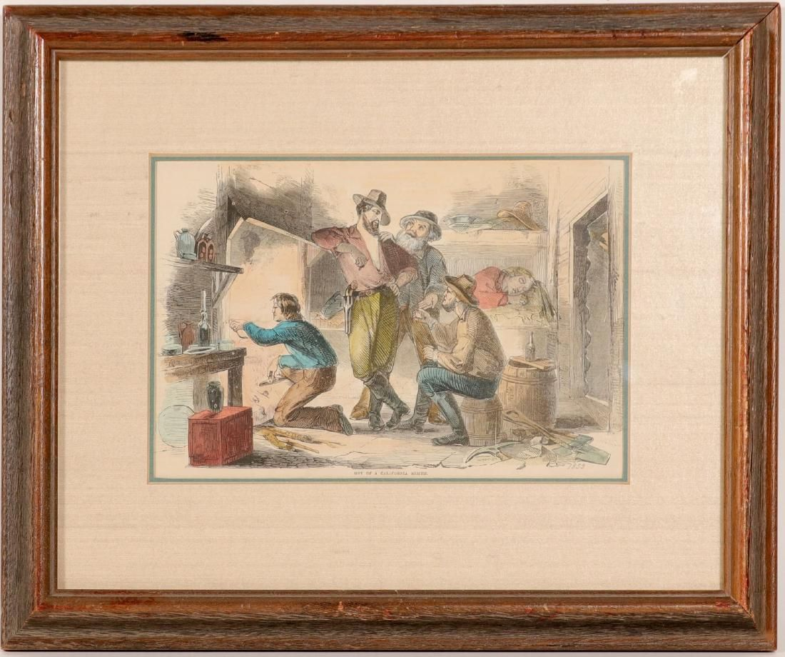 """Mining / Lithograph /"""" Hut Of A California Miner. """""""