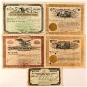 Five Different Cripple Creek Mining Stock Certificates