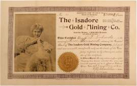 Isadore Gold Mining Company Stock Certificate (102506)