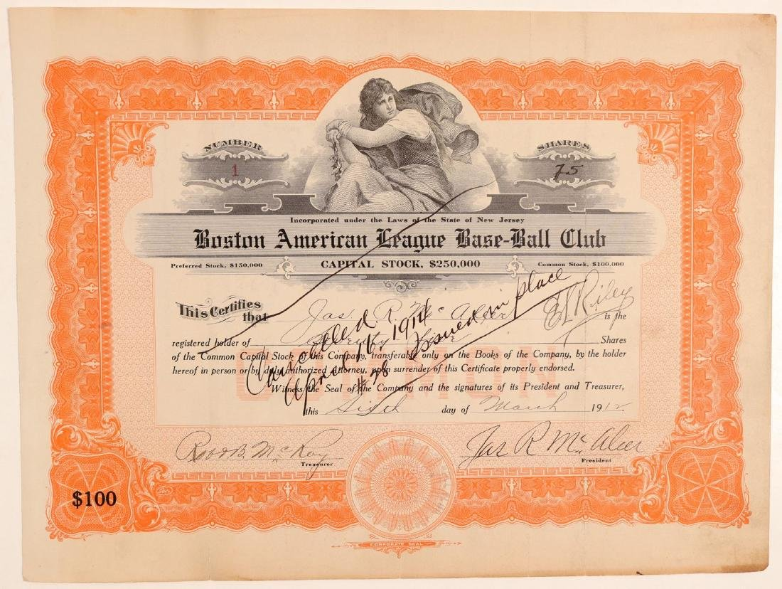 Boston American League Base-Ball Club Stock - NUMBER 1