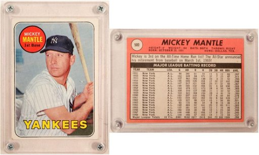 1969 Topps Mickey Mantle Card Yellow 104080 May 19