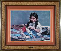 """Framed """"Little Indian Girl"""" Print by McMahan (87647)"""